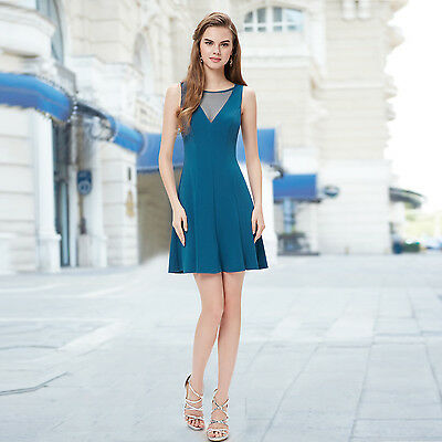 Cute Blue Fashion Sheer Neckline Casual Flower Short Mini Summer Dresses 05263