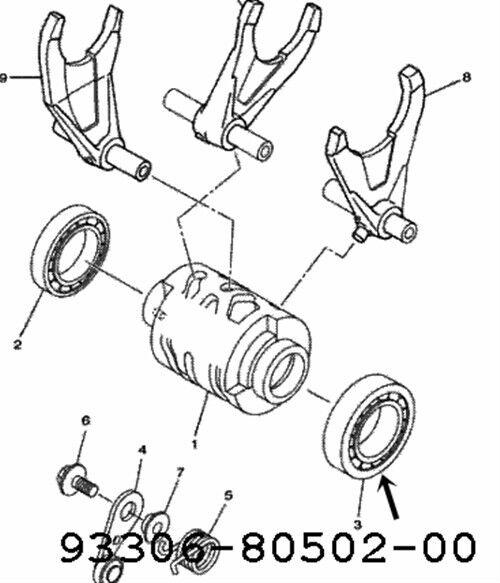 Genuine Yamaha Bearing 93306 80502 00 Transmission Shaft Cam Fork