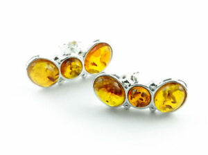 Beautiful-925-Sterling-Silver-amp-Baltic-Amber-Designer-Earrings-SilverAmber-K029