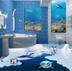 3D Glacier Penguins 5 Floor WallPaper Murals Wall Print 5D AJ WALLPAPER UK Lemon