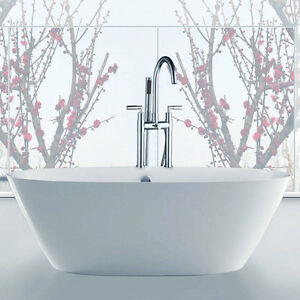 new polish chrome bathroom bath tub filler faucet deck mounted w spray