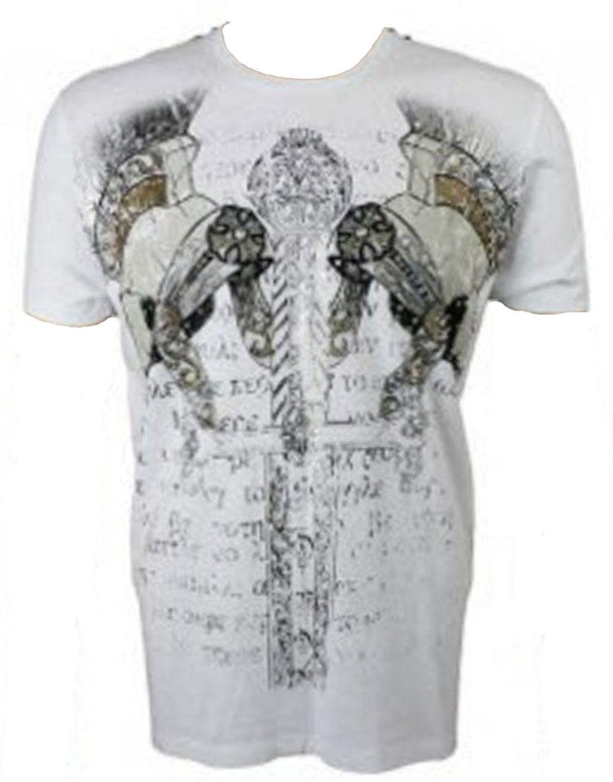 Konquest Platino Uomo Gladiatore Stampa T-Shirt Bianco (KQTS030)