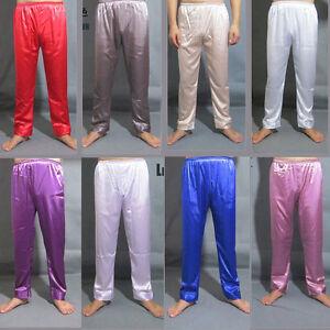 Men-Nightwear-Sleepwear-Pajamas-Satin-Silk-Long-Lounge-Pants-Pyjamas-Trousers-OP