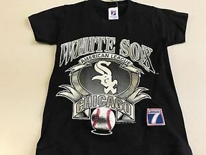 official photos 78727 7b141 Details about VINTAGE YOUTH CHICAGO WHITE SOX EARLY 90S BLACK LOGO 7 TEE  SHIRT