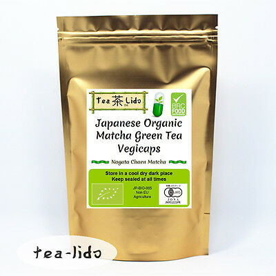 Japanese Matcha Green Tea Powder Capsules, 60 x 500mg, ORGANIC, Vegicaps..