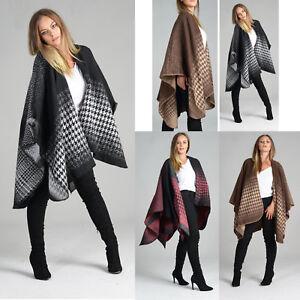 Ladies Women Fashion Winter Wool Dog Tooth Cape Blanket Wrap Poncho