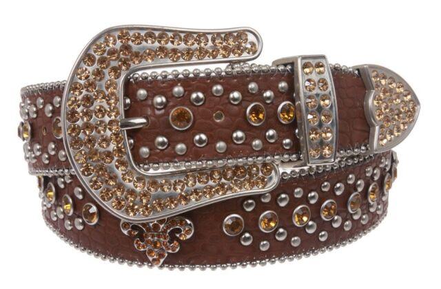 Western Cowgirl Saints Fleur-de-lis Studded Rhinestone White Leather Belt