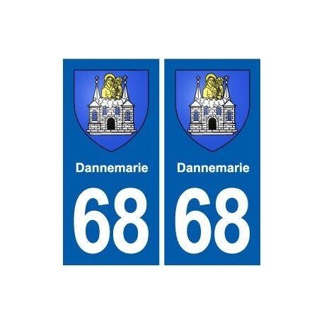 68 Dannemarie blason autocollant plaque stickers ville arrondis