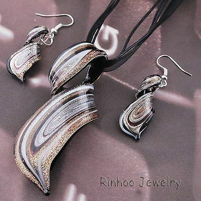 New Twisty Silver Foil Lampwork Glass Bead Pendant Necklace Earrings Jewelry Set