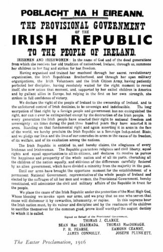 Irish Republic Republican Easter Rising 1916 Proclamation Poster Large A3