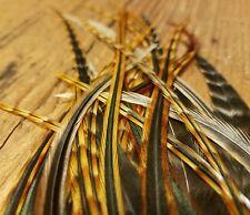 50 W/FLUFF natural dark barred ginger Saddle hackle Feather extensions Webbed