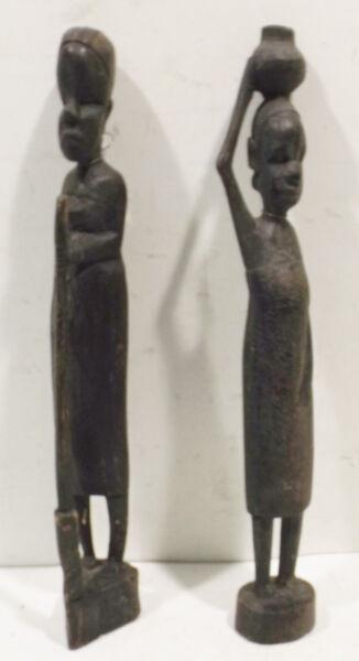 """"""" Porteuse D'eau Et Bäurin """" Sculpté Africain Bois Sculptures"""