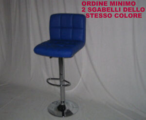 Sgabello bar blu comfort in ecopelle morbida e base cromata