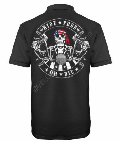Velocitee Speed Shop Mens Polo Shirt Ride Free Or Die Biker A21650