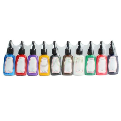 New Tattoo Ink 10 Color Pigment Complete Set Supply 1/2 oz ounce