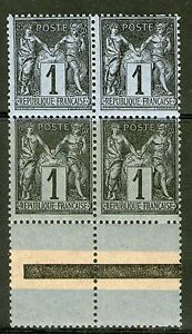 BLOC-DE-4-TIMBRES-N-83-NEUF-GOMME-ORIGINALE-BDF-LIGNE-D-039-ENCADREMENT