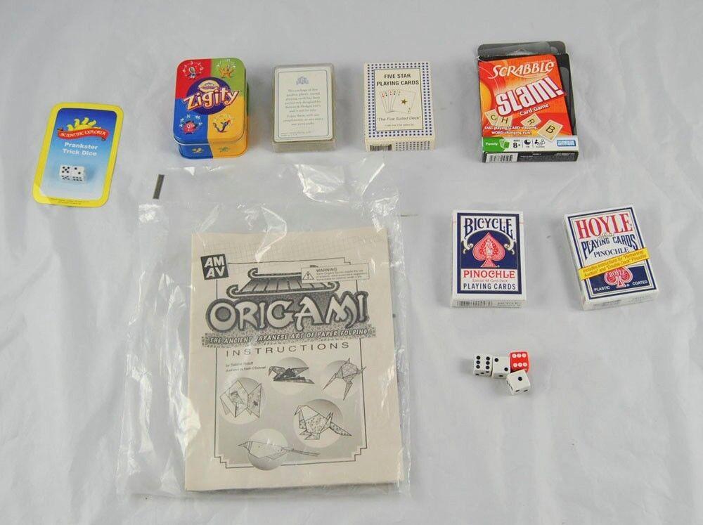 Vintage Lote De 9 Juegos De Dados Cranium zigity Jugando Cartas Slam Cartas Origami r5y5