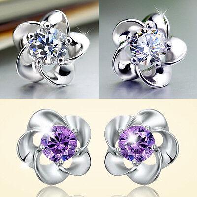 New Womens Fashion Elegant Crystal Rhinestone Flower Ear Stud Earrings Jewelry