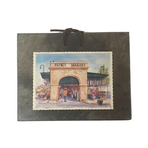 French Market New Orleans Print On Vtg 1800s Roofing Slate Archie Boyd Sketches