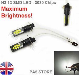 2x-H3-12-SMD-3030-bombillas-LED-blanco-brillante-6000K-coche-Niebla-Luz-Lampara-12V-Calidad-UK