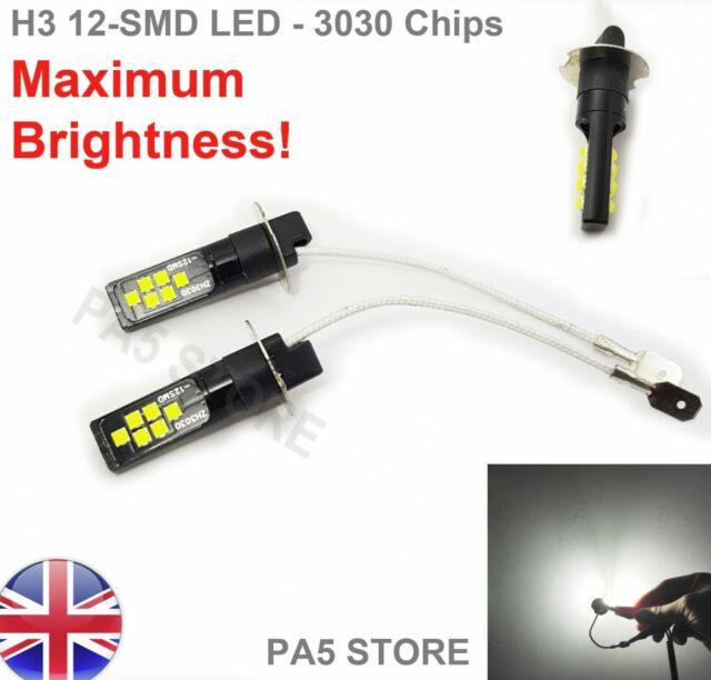 2 x H3 40-SMD 4014 LED Bulbs XENON White 6000K Car Fog Light Lamp 12V Quality UK