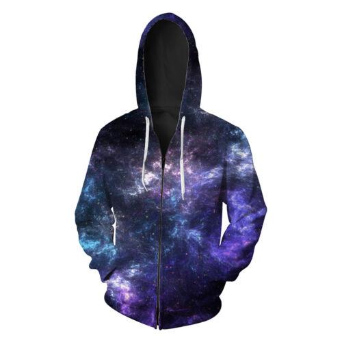 Unsex hoodies Galaxy sky star Printed Zipper Pocket Sport hoodies S-6XL 337