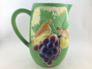 Vintage-Ceramic-Green-Basket-of-Fruit-Pitcher-with-Grapes-Pears-etc-7-034-tall
