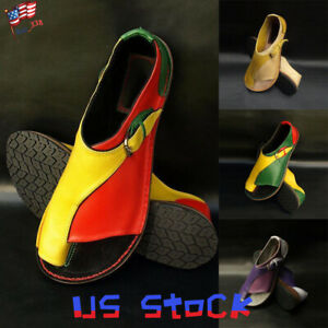 Fashion-Flat-Sandals-Women-Shoes-Color-Block-Classic-Retro-Easy-On-Toe-Ring-US