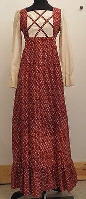 Adorable Vintage 1960s Red + Blue Floral Prairie Maxi Dress, Size 4