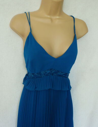 BNWT NEXT mid blue strappy lace pleated midi maxi Dress Wedding Occasion Party