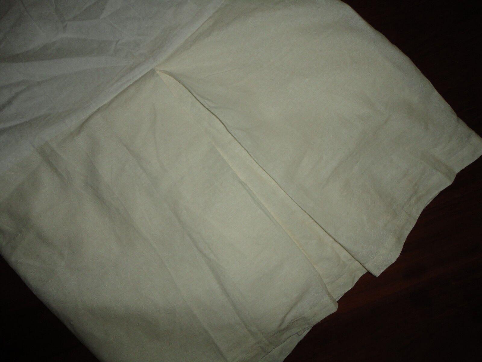POTTERY BARN ESSENTIALS WHITE (IVORY) QUEEN BEDSKIRT 14  SPLIT LINEN COTTON