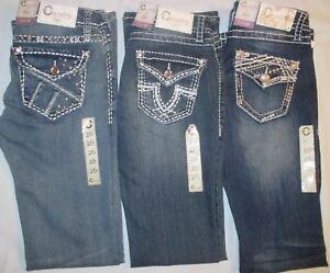Women S Reg Charme Denim Jeans By Grace In La Embellished Bling Stretch Bootcut Ebay