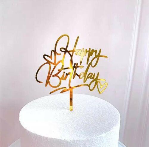 Cake Topper Happy Birthday Stecker Torten Deko Geburtstag Silver Silber Baby