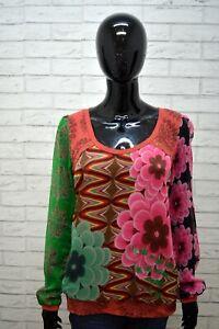 Maglia-Donna-DESIGUAL-Taglia-M-Blusa-Polo-Manica-Lunga-Cotone-Shirt-Floreale