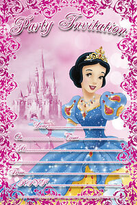 Details About 10 X Snow White Birthday Party Children Invitations