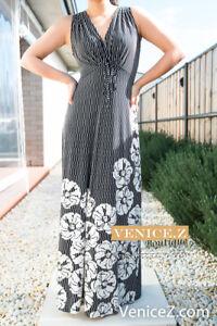 NEW-LEONA-by-LEONA-EDMISTON-Vneck-Maxi-Jersey-Dress-Black-White-Floral