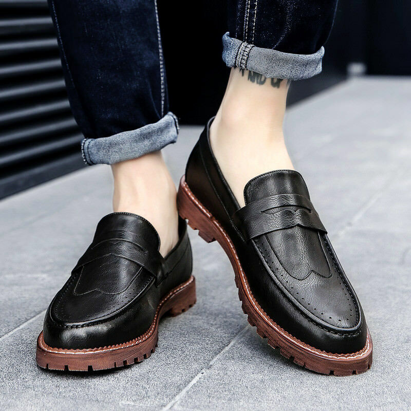 Men's Oxford British Youth Slip On Casual Flat PU Loafers shoes Round Toe Solid