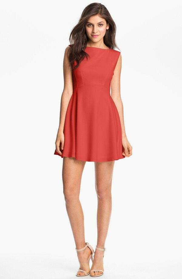 NEW FRENCH CONNECTION Extended Sleeve Ponte Fit & Flare DRESS US 6 FR 38