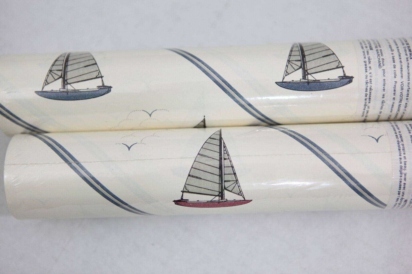 Simple Sailboat Nautical Theme Weiß Wallpaper with Blau Pinstripes - York Brand