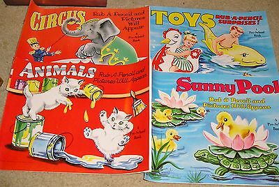 Vtg 1954 Box Set 6 Coloring Books Saalfield Art Craft Circus Animals Toys Cats