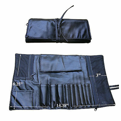 Black Faux Leather 9 Slots Cosmetic Brushes Brush Makeup Bag Case Roll For Gift