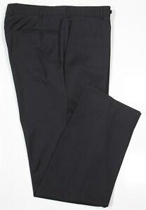 Isaia-Napoli-Recent-Solid-Black-Flat-Front-Suit-Men-039-s-Dress-Pants-32-x-33