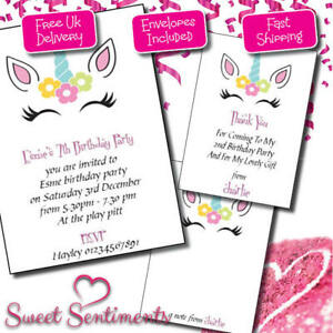 Personalised beautiful unicorn invitation thank you note image is loading personalised beautiful unicorn invitation thank you note invites stopboris Images