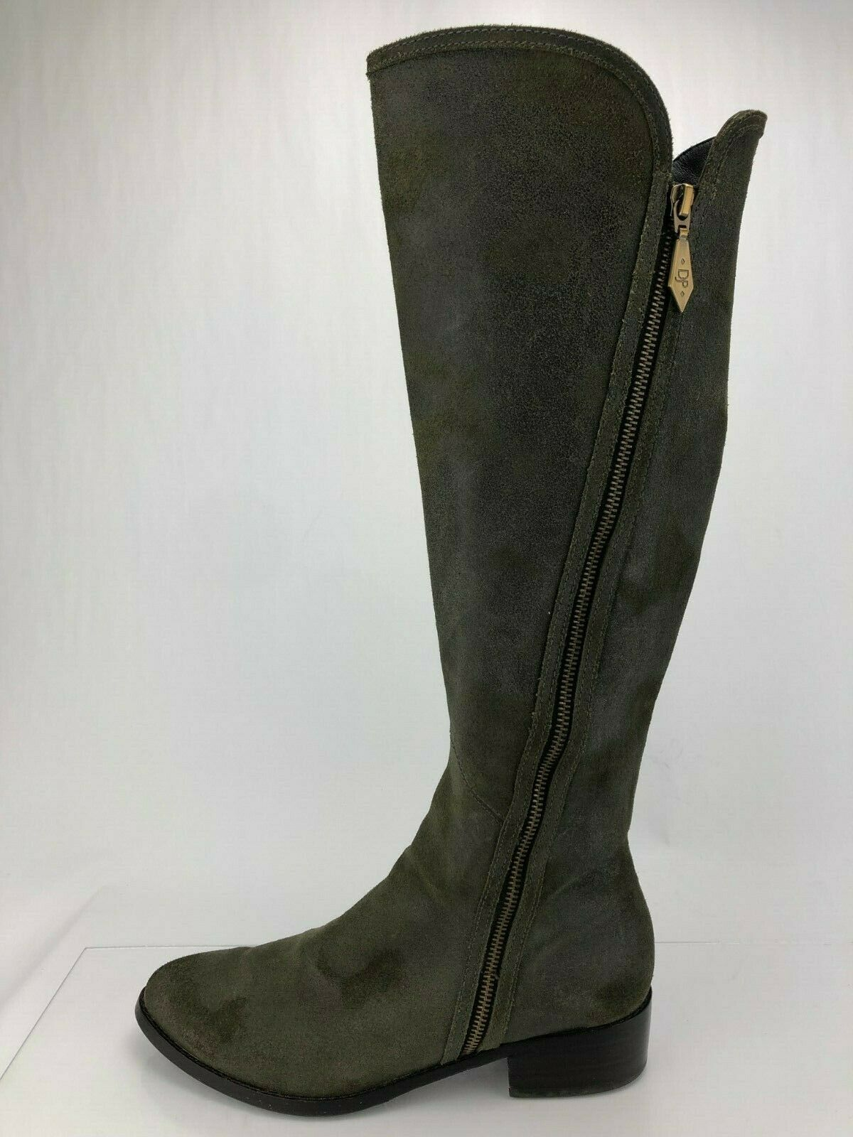 Donald J Pliner Knee High Boots Nova Green Suede Zip Tall Fashion Womens 7.5 M