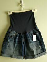 Oh Baby Motherhood Maternity Small Denim Shorts Jean Full Belly Panel 41215
