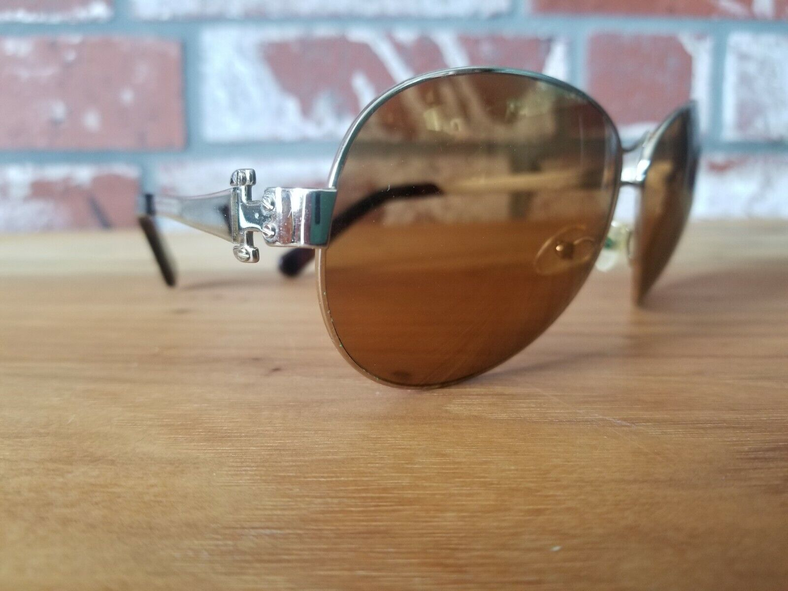 Used TORY BURCH AVIATOR SUNGLASSES gold frame gold mirror lenses TY 6005 101/97