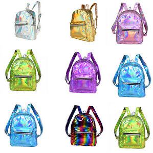 HOLOGRAPHIC-BACKPACK-SILVER-GOLD-RAINBOW-CUTE-SCHOOL-RUCKSACK