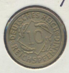 German-Empire-Jagerno-317-1930-F-ext-fine-10-reich-pfennig-spikes-7869096
