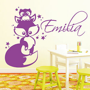 11016 wandtattoo fuchs eule wunschname fox owl name kinder kinderzimmer kind ebay. Black Bedroom Furniture Sets. Home Design Ideas