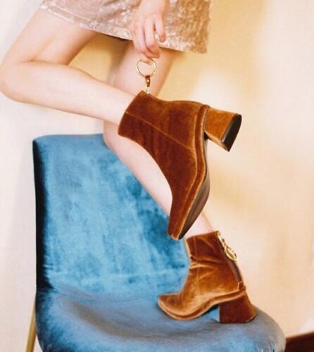 Femme Anneau Métallique Chunky Med Talon Velours Bottines Bout Pointu Chaussures d/'hiver T0